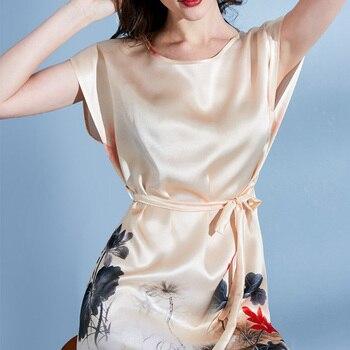 Ladies 100% Real Silk Robe Nightgown for Women Luxury Hangzhou Silk Bedgown 2020 Sleepwear Natural Silk Nightdress Robes Large S