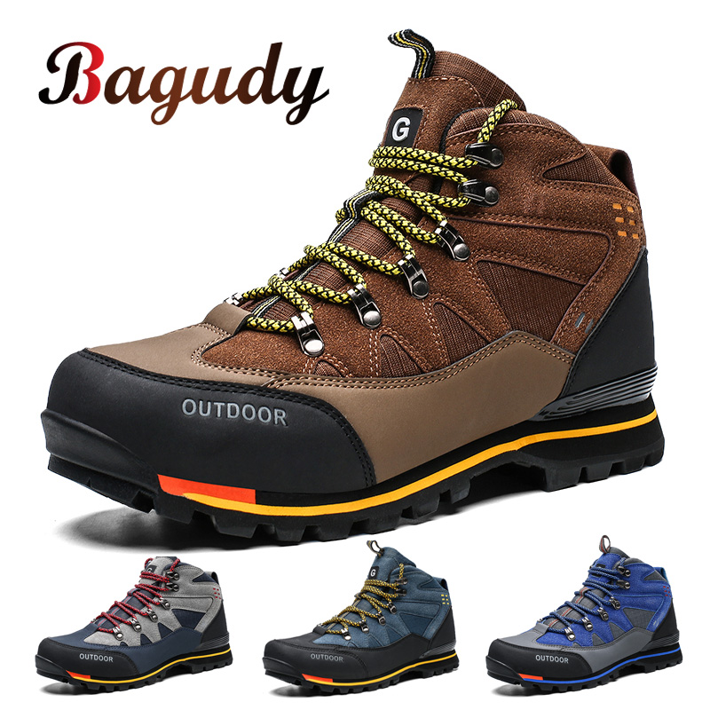 Men's Leather Boots Non-slip Leather Sneakers Outdoor Waterproof Snow Boots Autumn Durable Male Hiking Boots Work Shoes 40-47