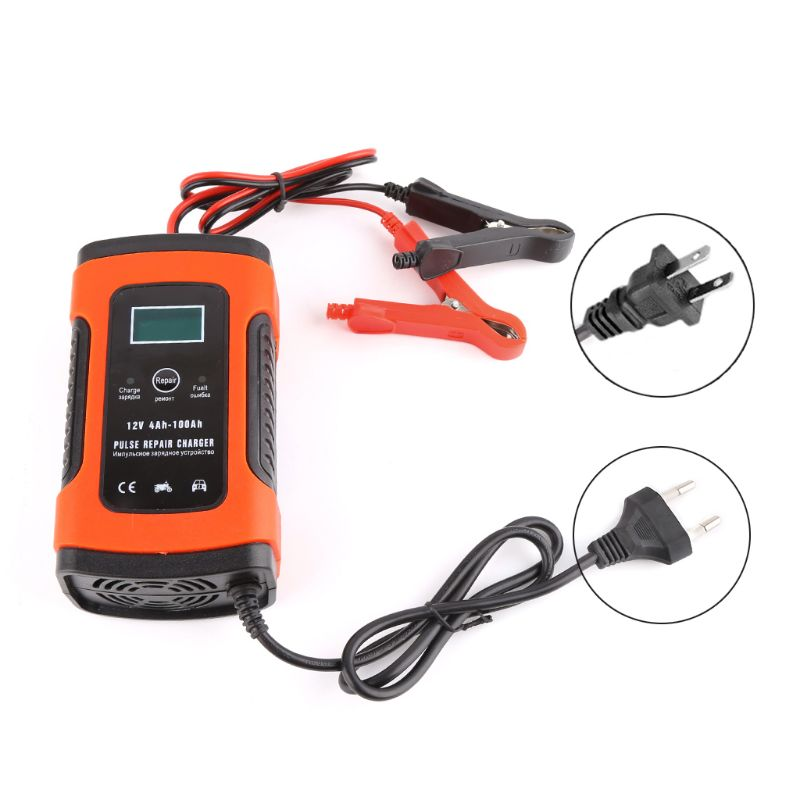 Auto Car Intelligent Battery Charger DC 12V 5A Pulse Repair Truck Storage EU/ US Plug With LCD Display High Quality Jump Starter     - title=