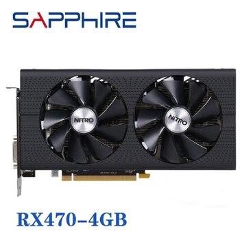 Utilizzato ZAFFIRO RX 470 4GB Schede Video Schede Grafiche GPU Radeon RX470 Per AMD400 Gioco Per Computer Mappa HDMI PCI-E x16