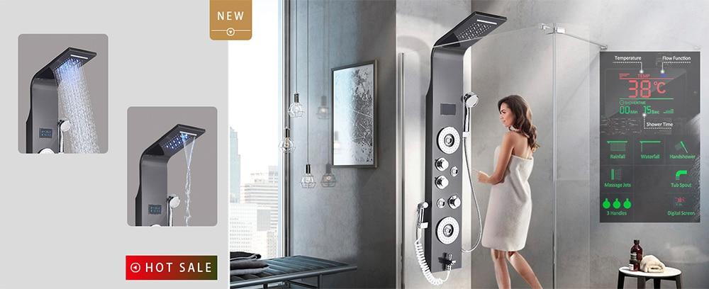 Hc0dd7681e5154264aea3874a499186aaW Shower Panel LED Rainfall Waterfall Shower Head Rain Massage System Body Jets & Hand Shower Stainless Steel Bathroom Shower Pane