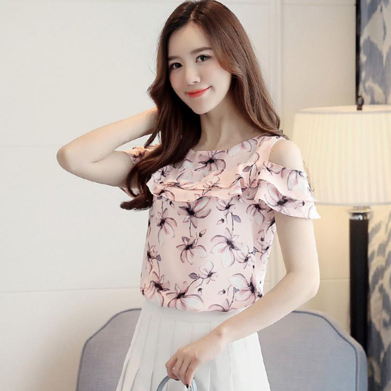 Sweet Chiffon Blouse Women Summer Floral Print Shirt Round Neck Short Sleeve Blouses