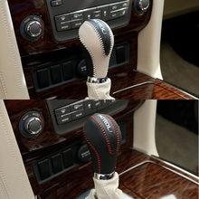 Do naszycia skórzana gałka zmiany biegów do samochodu dla Nissan Patrol Y62 Armada 2016 2017 2018 2019 2020 akcesoria