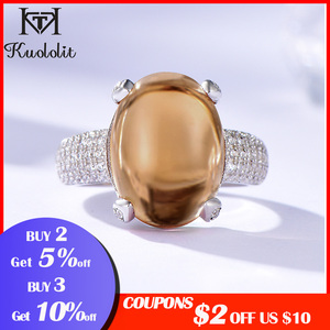 Image 2 - Kuololit Zultanite חן טבעות לנשים מוצק 925 כסף סטרלינג צבע שינוי סגלגל Diaspore אבן אירוסין תכשיטים