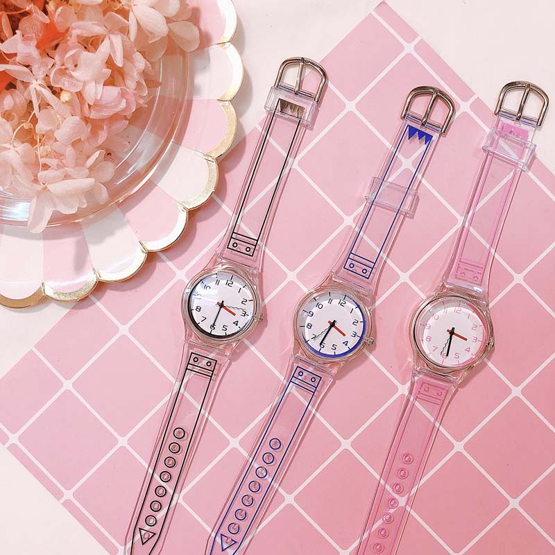 1 Pcs Women Clear Silicone Band Wrist Watch Jelly Comic Style Quartz Casual Watches B99