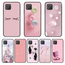 Castelo gato rosa moda caso de telefone capa para oppo a91 9 83 79 92s 5 f9 a7x reno2 realme6pro 5 tpu preto capa celular