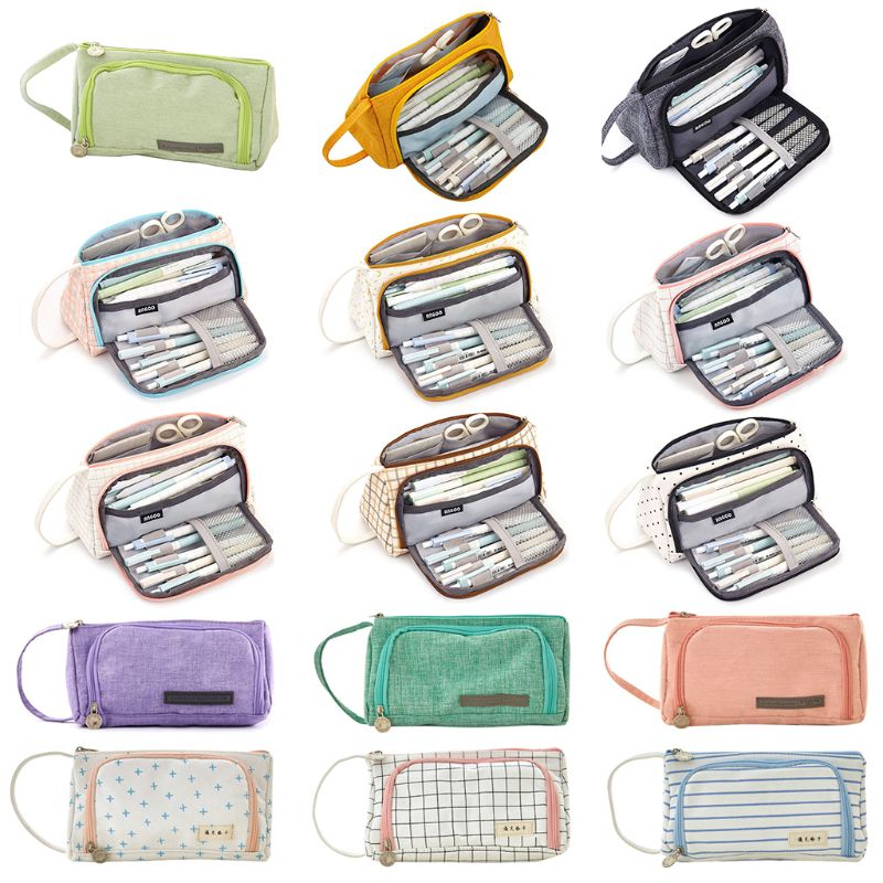 Students Pencil Case Double Layer Cosmetic Bag Solid Color Cute Square School