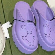 Sandálias femininas oco sapatos de jardim sapatos baotou chinelos 2021 nova marca de luxo ao ar livre preguiçoso sapatos de praia sapatos femininos
