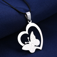 Rinhoo Heart pendant fashion butterfly pendants Stainless steel necklace for women men party Gifts