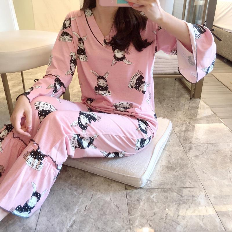 Long Sleeve Spring And Summer Korean-style-Outer Wear Sweet Cute Tracksuit 6535 Two-Piece Set Cotton Students