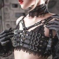 Sujetador gótico de cuero negro Punk para mujer, arnés con cadena de Metal, Tops cortos, ropa de disfraz de fiesta, sujetador con correas ajustables para Halloween
