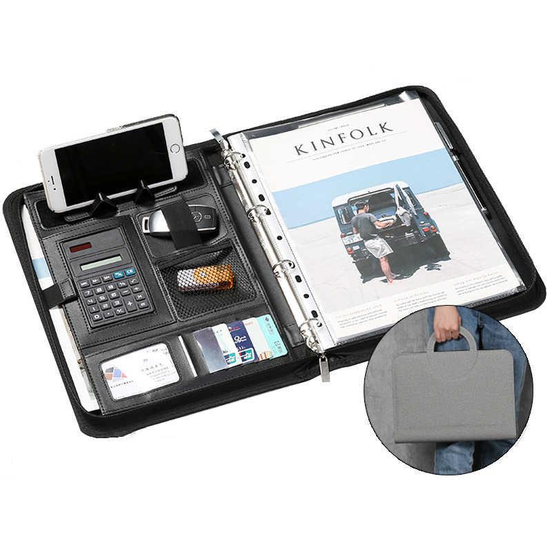 Calculator UK A4 Multifunction PU Leather Folder usiness Organiser Case Holder
