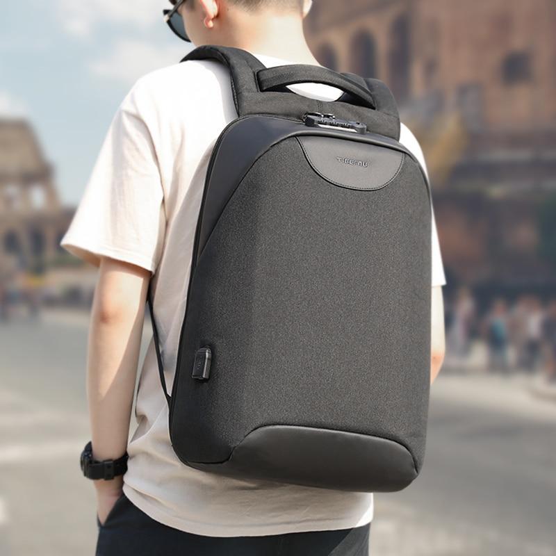 Nenhuma Chave Anti roubo Bloqueio TSA Moda Masculina Mochilas 15.6 polegada 18L Carregamento USB Laptop Masculino Mochila Mochila Escolar Faculdade para Meninos