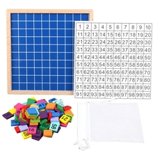 Wooden Math Learning Board Toy, Montessori 1-100 Consecutive Numbers Wooden