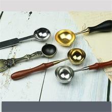 Новинка, 1 шт., модная ложка из нержавеющей стали, деревянная ручка, длина 12 см, высокое качество, для восковой печати, древние уплотнительные восковые бусины для таблеток