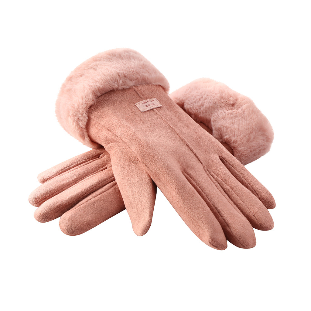Women Winter Gloves Ladies Girls Outdoor Heat Full Finger Lined Driving Glove Fur Mittens leather Suede and suede riding cute