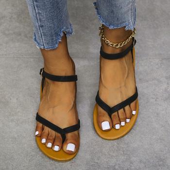 Letnie damskie mieszkania sandały Clip Toe pasek z klamrą damskie buty wąskie paski plażowe obuwie damskie 2021 casualowa wygodna tanie i dobre opinie YBX TREND CN (pochodzenie) Mieszkanie (≤1cm) Na co dzień Pasek na kostkę Płaskie z Otwarta RUBBER Dobrze pasuje do rozmiaru wybierz swój normalny rozmiar