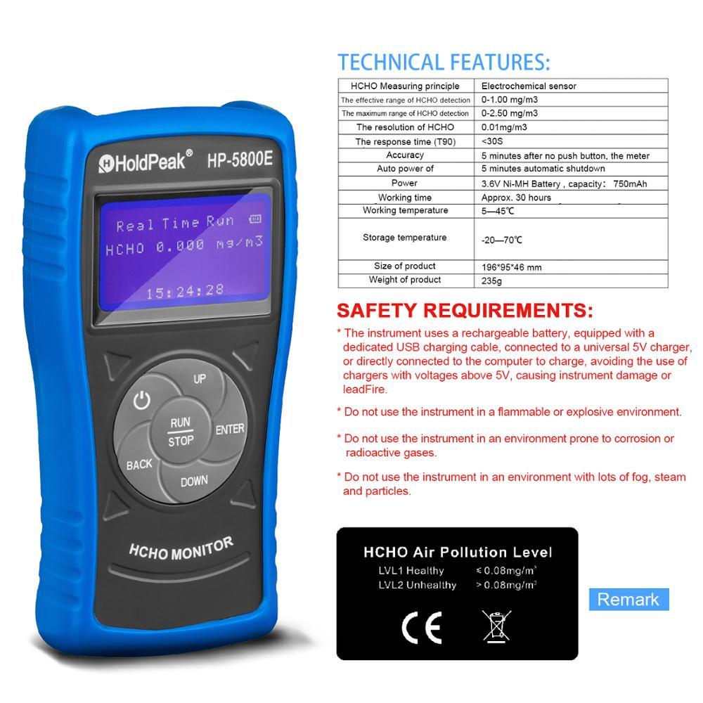Detector de Monitor de formaldehído Holdpeak 5800E con luz de fondo y apagado automático para pruebas medioambientales en interiores y exteriores - 4