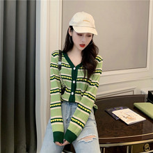 Harajuku Avocado Green Heart Stripe Women Knitted Cardigan Sweater V-neck Hit Color Women Sweater Autumn Lady Sweater turtle neck stripe rib panel knitted sweater