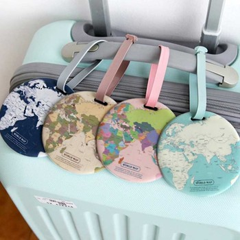 4 Colors World Map Luggage Travel Accessories Tag PU Suitcase ID Addres Holder Baggage Boarding Tag Portable Label