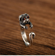 925 sterling silver trend small animal cute pet ring retro Thai silver dog open ring 925 sterling silver retro thai silver bulldog fierce dog ring fashion hip hop personality ring