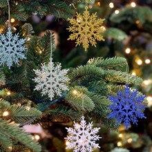 6pcs 10cm Plastic Gold Silver Glitter Powder Snowflake Xmas Ornaments Pendant Christmas Tree Decorative Hanging
