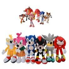 Jouets de poupée sonique pour enfants, 6 pièces/ensemble, divers rôles, jeu de peluche en coton doux, Sonic, cadeaux de noël pour enfants, 2020