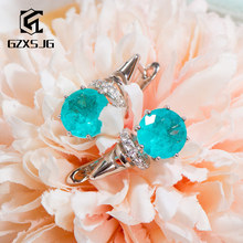 GZXSJG Paraiba Tourmaline Gemstones Clip Earrings for Women Solid 925 Sterling Silver Blue Tourmaline earrings for Anniversary