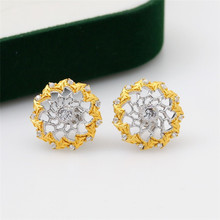 CMajor S925 Solid Sterling Silver Hollow Out Vintage Temperament Elegant Two Tone Round Green Stone Stud Earrings for Women two tone twist detail stud earrings