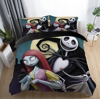 The Nightmare Before Christmas Printed Bedding Set Cartoon Pattern Bed Linen Duvet Cover Pillowcases Twin Full Queen King Size