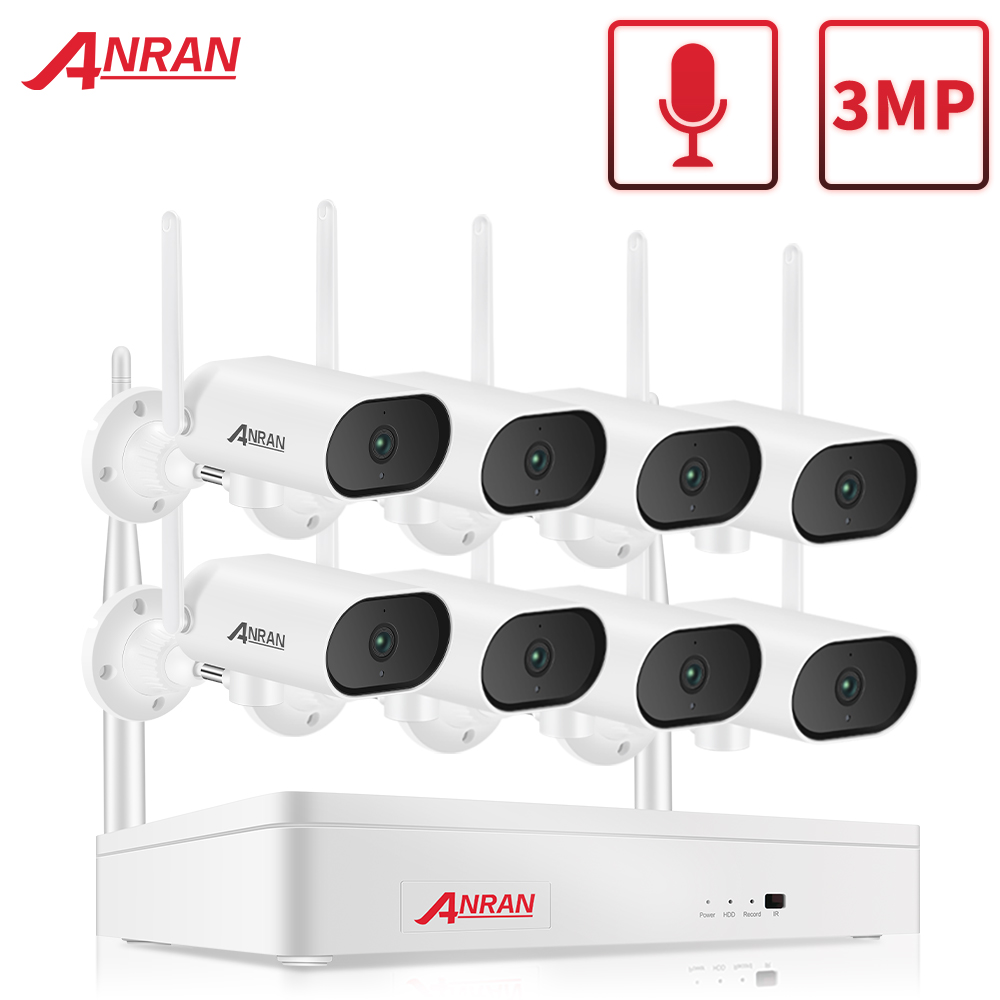 ANRAN 3MP WiFi Surveillance Pan & Tilt Camera System Wireless Security Camera 8CH NVR cctv Video Kit Night Vision Outdoor Camera