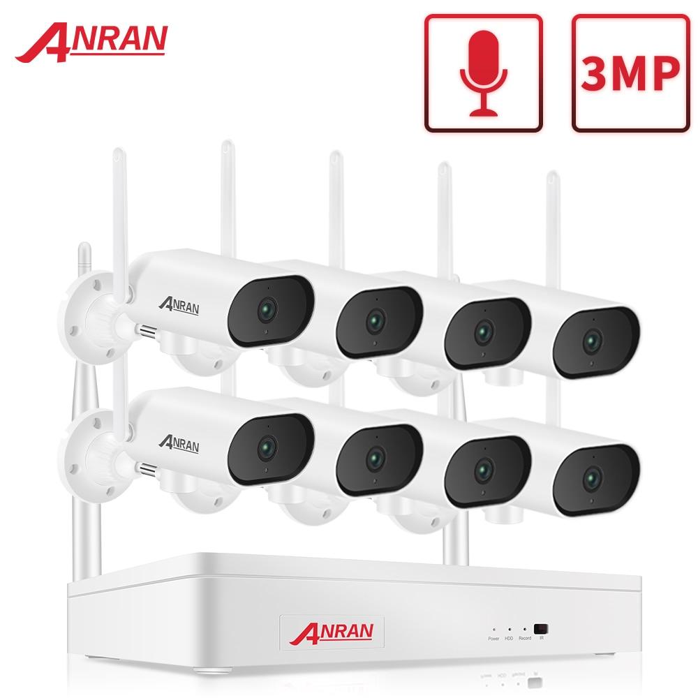 Anran 3mp wifi sistema de câmera de vigilância pan & tilt câmera de segurança sem fio 8ch nvr cctv kit vídeo visão noturna ao ar livre câmera