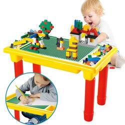 DIY klasyczne bloki wielofunkcyjny stół z podstawą kreatywe klocki biurko edukacyjne zabawki dla dzieci Technic zabawki dla dzieci