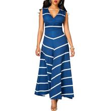 Loose Dress Women Elegant Deep V Neck Striped Ball Gown Maxi Dresses Casual Plus Size Long Party Dress 2020 Spring Free Shiping vintage autumn summer dress women 2018 casual plus size elegant ball gown dress female sexy v neck long party dresses 3xl