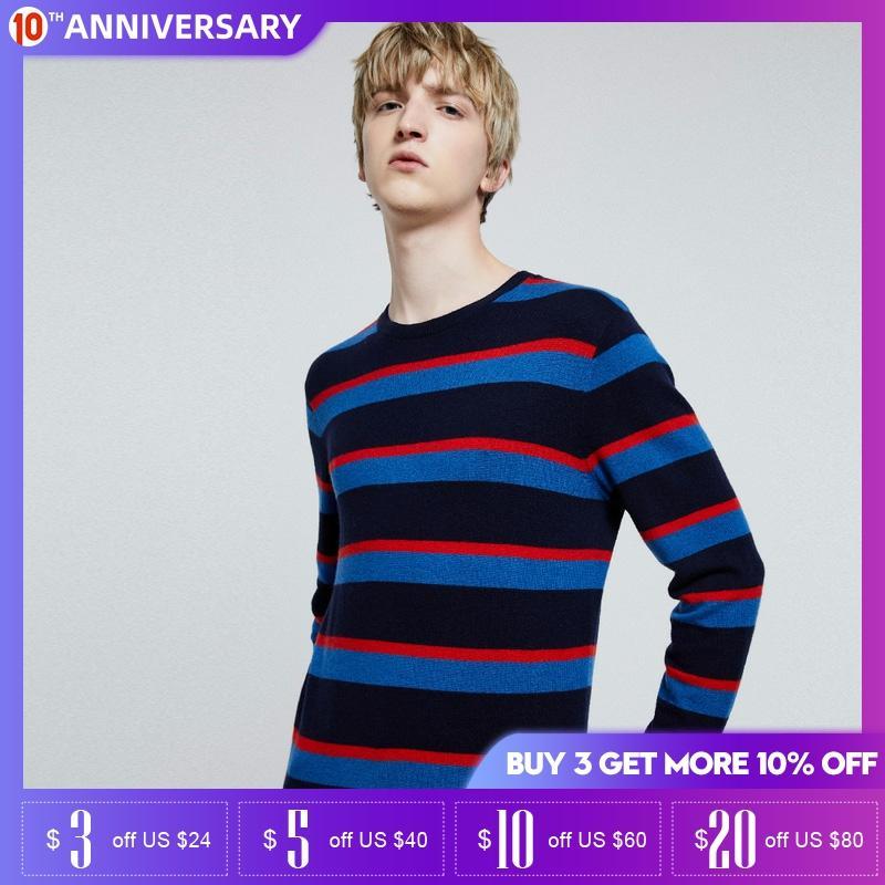 Jack Jones Mens Basic Stripe Round Neckline Sweater| 219324523