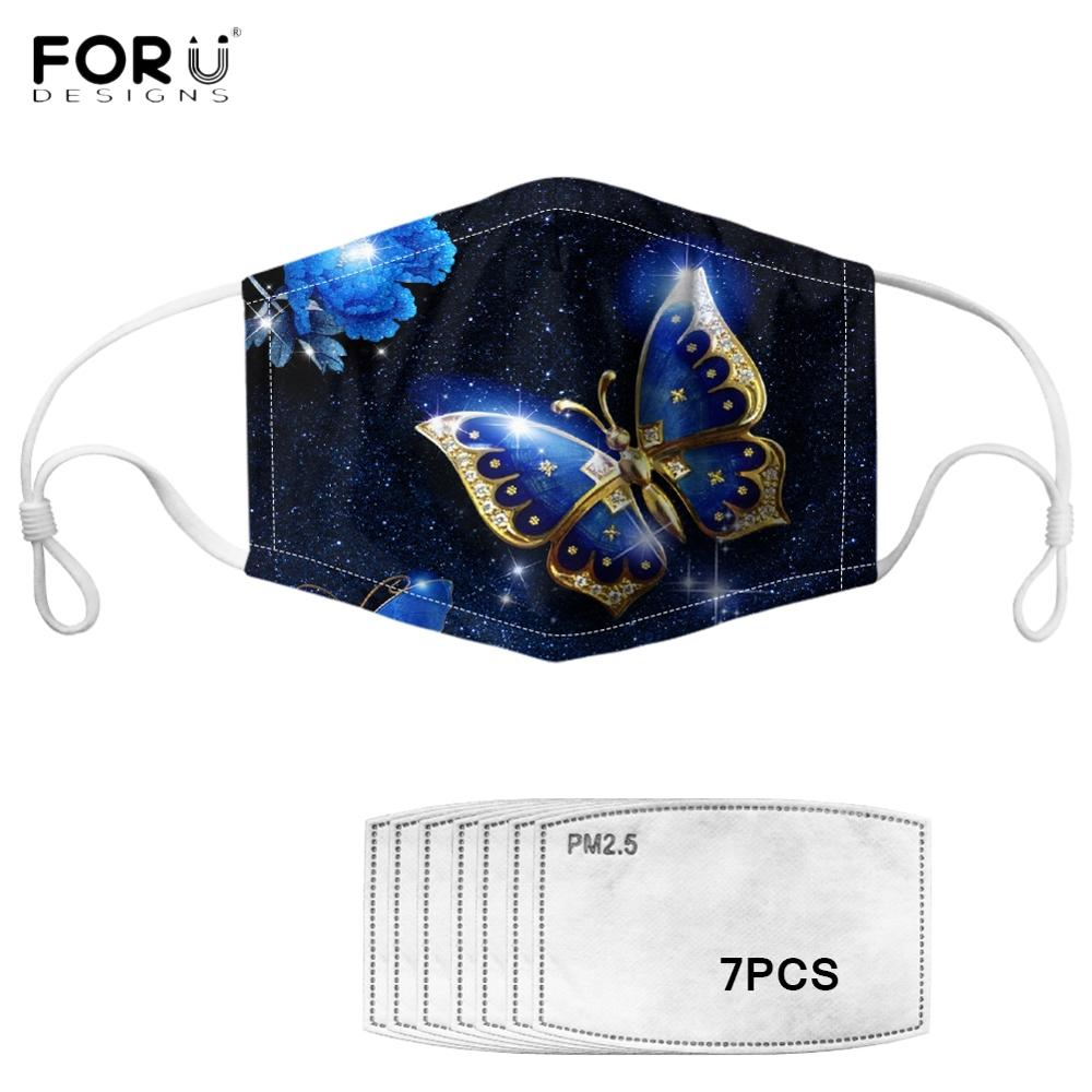 FORUDESIGNS Beautiful Butterfly Print Women Anti-dust Mask Elastic Non-disposable Lady Mouth Mask Reusable Breathable Face Mask