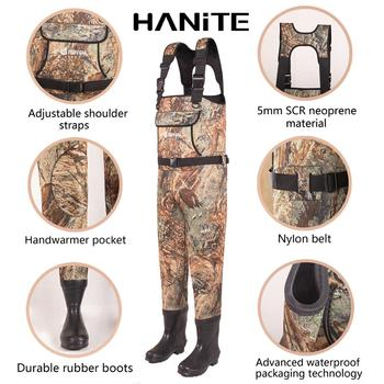 HANITE 5mm Waterproof Thermal  Neoprene Wader with Rubber Boots for Fishing, Hunting, useful in rainy,snowy and flood weather 3