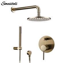 Матовый Золотой смеситель для ванной комнаты с дождем и падением