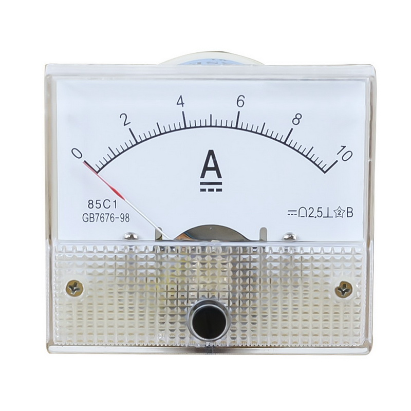 1PC DC Plastic Analog Pointer Ammeter Ampere Meter Amp Panel 1A 2A 3A 5A 10A 20A 50A 100A Mechanical Current Meters 64*56mm