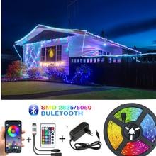 Bluetooth led tiras rgb 5050 smd 2835 faixa de fita flexível dc 12v 7.5m 10m 15m 20m fita flexível diodo controle remoto + adaptador