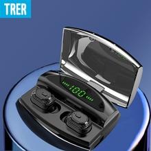 TRER Bluetooth Headphones IPX7 Waterproof Wireless Sport Earphones HiFi Bass Stereo Sweatproof Earbuds Noise Cancelling Headset