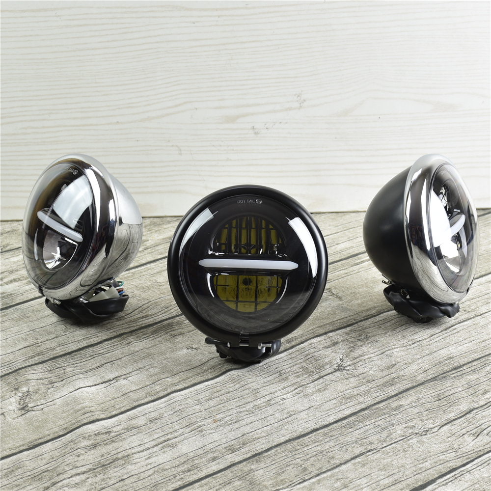 Universal Motorcycle <font><b>LED</b></font> Headlamp Assembly for Harley <font><b>883</b></font> Bobber Retro Motorbikes DRL Super Bright Front Light 5.75'' Headlight image