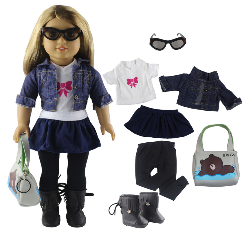 1 Set Doll Clothes For 18 Inch American Doll Handmade Lovely Student Clothes X29