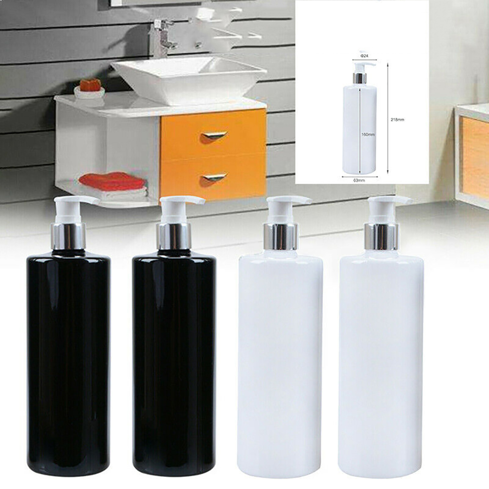 4pcs/set Plastic Soap Dispenser Bottle Pump Empty Liquid Body Wash Lotion Bottle Bathroom Shampoo Dispenser 0.5L