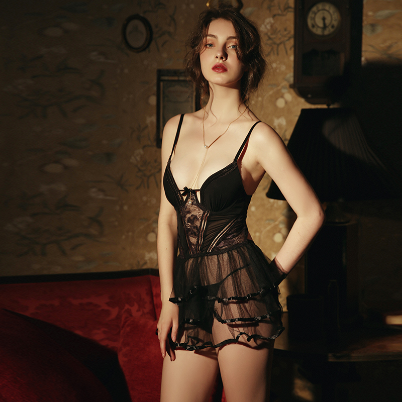 Black Sexy Women's Summer Thin Short Appealing Skinny Perspective With Chest Pad Princess Cling Nightdress Nightgown