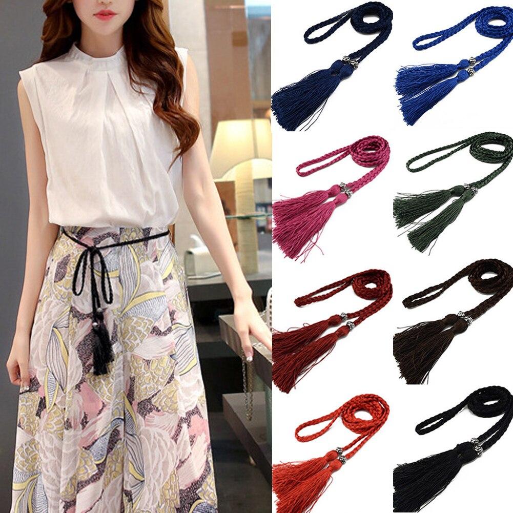Fashion Women Solid Color Braided Tassel Belt 2020 New Boho Girls Thin Waist Rope Knit Belts For Dress Waistbands Accessories