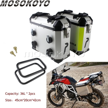 2PCS*36L Motorcycle Side Case Boxes Universal Cargo Luggage Pannier Sidecases For Honda Suzuki Triumph BMW R1200 F800 F650 GS