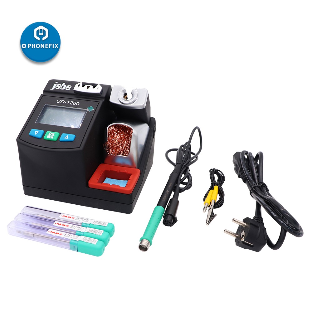 Jabe UD-1200 Soldering Station Lead-free Intelligent Rework Station with Dual Channel Power Supply Heating System Welding Tools