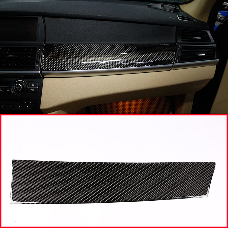 LHD RHD Real Carbon Fiber Car Passenger Dashboard Panel Cover Sticker For BMW X5 E70 X6 E71 2008 2013 Left Right Hand Drive-in Interior Mouldings from Automobiles & Motorcycles    1