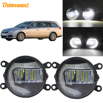 Buildreamen2 2in1 Function Car LED Projector Front Fog Light + Daytime Running Light 90mm Round 12V For Opel Vectra C 2002-2008